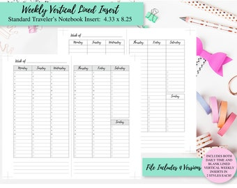 Weekly Daily Times Insert - Standard Traveler's Notebook Planner - Printable PDF Download - Blank Weekly Vertical Lined Insert -Simple Basic