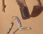 Lot of 5 knives - 4 vintage one newer finger knife neck knife. One advertising. Key-chain Pocketknives - Richards - Imperial USA
