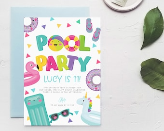 Pool Party 11th Birthday Invite INSTANT DOWNLOAD Eleventh For Teenager Boy Girl Templett Swim Swimming Beach