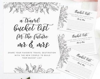 A Bucket List Set Bucket List Sign Instant Download E77H DIY Editable PDF Kraft Paper Bucket List Card Rustic Card Rustic Wedding