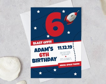 Space 6th Birthday Invitation INSTANT DOWNLOAD Invites Boys Sixth Invite Boy Templett Stars Rocket Ship Galaxy