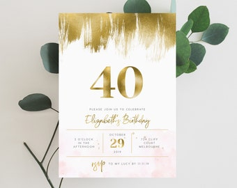 Gold Blush 40th Birthday Invite INSTANT DOWNLOAD Fortieth Adult Womens Templett Brushed
