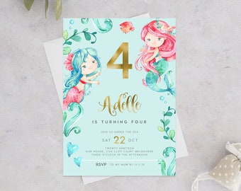 Mermaid 4th Birthday Invitation INSTANT DOWNLOAD Invites Girls Fourth Invite For Girl Templett Under The Sea Gold Foil