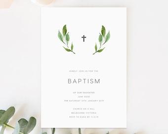 Leaves Baptism Invite INSTANT DOWNLOAD Baptism Invitation Girl, Baptism Invite Boy, First Holy Communion Invitation, Christening - REL031