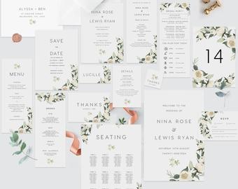 Wedding Invitation Set / Bundle INSTANT DOWNLOAD template download, DIY wedding templates, floral wedding, Templett, greenery, Design 108