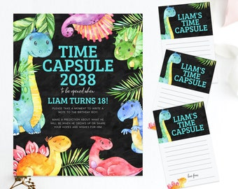Time Capsule Game INSTANT DOWNLOAD 1st Birthday Time Capsule, Party Games, Birthday Predictions, Dinosaur Birthday, T Rex, Dino Party