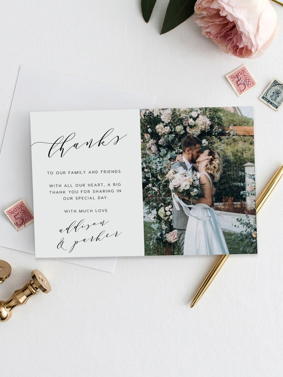 Photo Thank You Cards Wedding Thank You Card With Photo Etsy