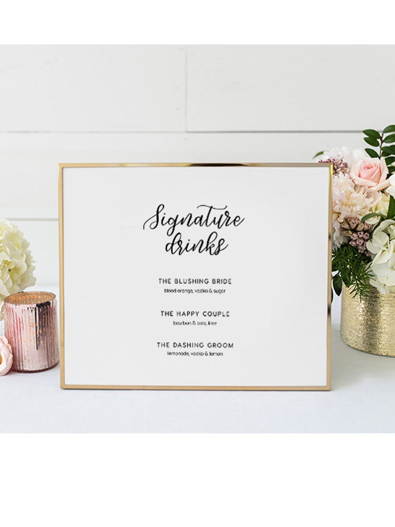 His and Hers Wedding Bar Menu Editable pdf DIY Printable Decorations Printable Signature Drinks INSTANT DOWNLOAD Templett 8x10