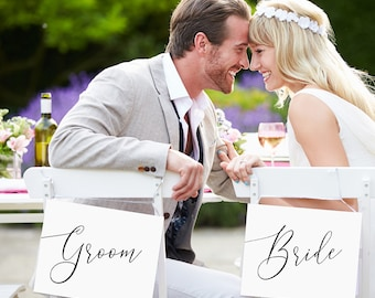Bride and Groom Signs INSTANT DOWNLOAD Wedding Chair Sign, Printable Bride and Groom Sign, Mr and Mrs, DIY, Instant Download, Chair Signs