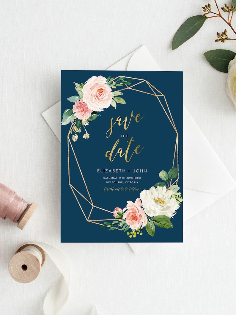 Pink Peonies White flowers Navy Save The Date INSTANT DOWNLOAD Editable Template blue PDF Printable Affordable Simple 5x7 wd005b