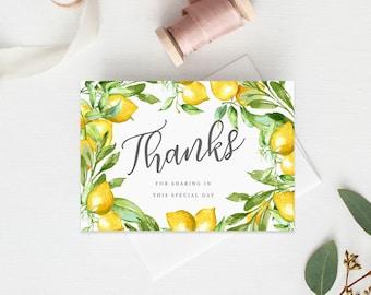 Folded Thank You Card INSTANT DOWNLOAD, Favor Card, DIY Printable Decorations, Bridal Sower Thanks Card, Christening, Lemons, White