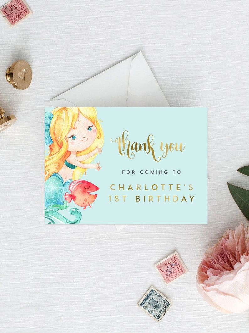 Templett Thanks Card Birthday Thank You Mermaid Thank You Card INSTANT DOWNLOAD Gold Foil Editable DIY Printable Decorations 3.5x5