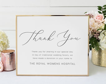 In Lieu of Favors Sign INSTANT DOWNLOAD, Template,Printable Wedding Donation Sign, Thank You, Charity Card, Wedding Signage, DIY Printable