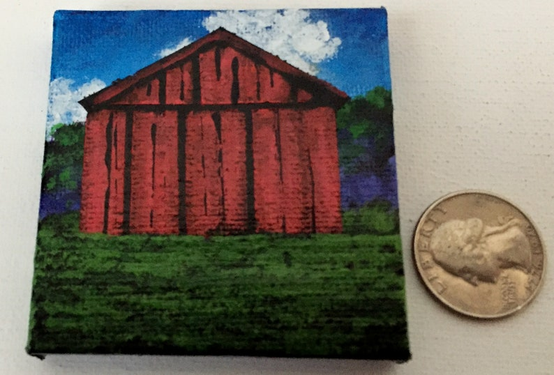 Red Barn Magnet Miniature Acrylic Painting hand painted on a 2.5 inch X 2.5 inch canvas