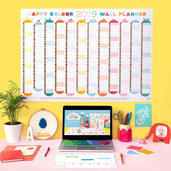 2019 Colourful Wall Planner Calendar