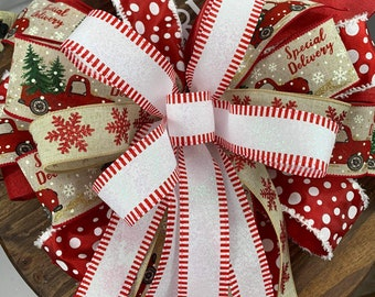 2pc set, Christmas Tree Topper, Christmas Bow, Wreath for Front Door