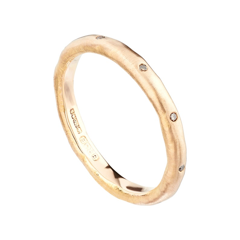 63d6927f56c Rose gold diamond wedding band molten wedding band simple | Etsy