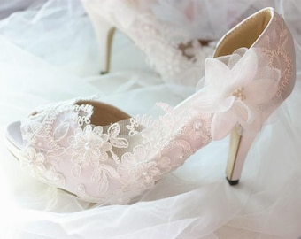 Wedding shoes bridal shoes high heel Satin wedding crystal shoes wedding  lace shoes