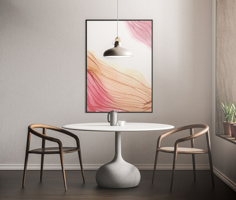 Pink Beige Corners Abstract Painting Home Decor Printable Wall Art Alcohol Ink Art Print Abstract Art Print
