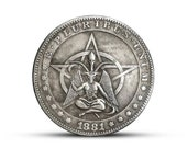 New Hobo Nickel Morgan Dollar Witch Witches Devil Lucifer Satan Skull Skeleton Carved American Casted Coin
