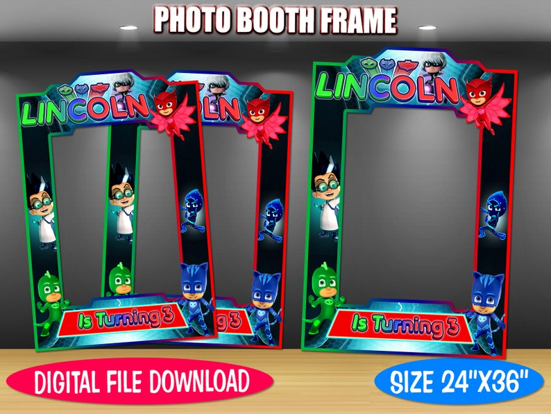 DIY Photo Booth Frame Pj Masks Inspired Digital File Only Pj Masks Inspired Photo Booth Frame Birthday Photo Booth