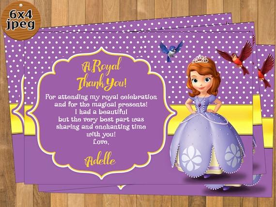 Sofia the 1st card-digital f Sofia the 1st thank you card Sophia the first thank you card Sofia the first thank you card