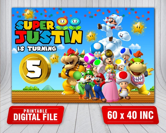 Mario Bross Backdrop Super Mario Birthday Backdrop Super Etsy