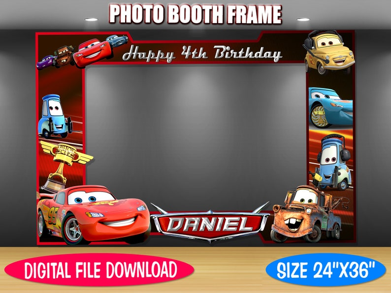 DIY Photo Booth Frame Digital File Only Cars Inspired Photo Booth Frame Birthday Photo Booth Cars Inspired