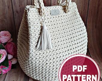 "PDF Crochet Pattern, Tutorial (with a few VIDEO links): Handbag ""Dew Drop"" / DIY Project / Crochet Tote Bag / Make Your Own Handbag"