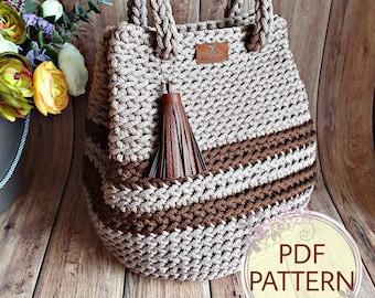 "PDF Crochet pattern, tutorial (with a few VIDEO links): Handbag ""Dew Drop with stripes"""