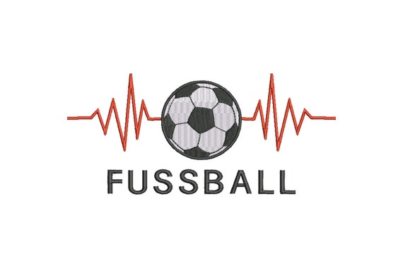 Stickdatei Fussball Herzschlag Clipart Cartoon 13x18 Cm Maschinenstickerei