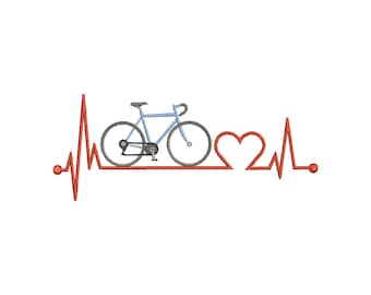 Embroidery file road bike 10x10 13x18 frame machine embroidery heartbeat pulse road bike bike bike riding wire donkey two-wheeler