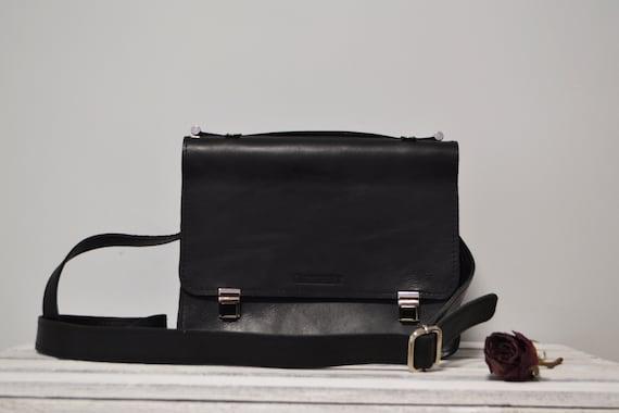 Black Crossbody Bag for women Handmade Cross Body Bag Leather Valentine's Gift FREE Personalized Damen Handtasche Schultertasche Tasche