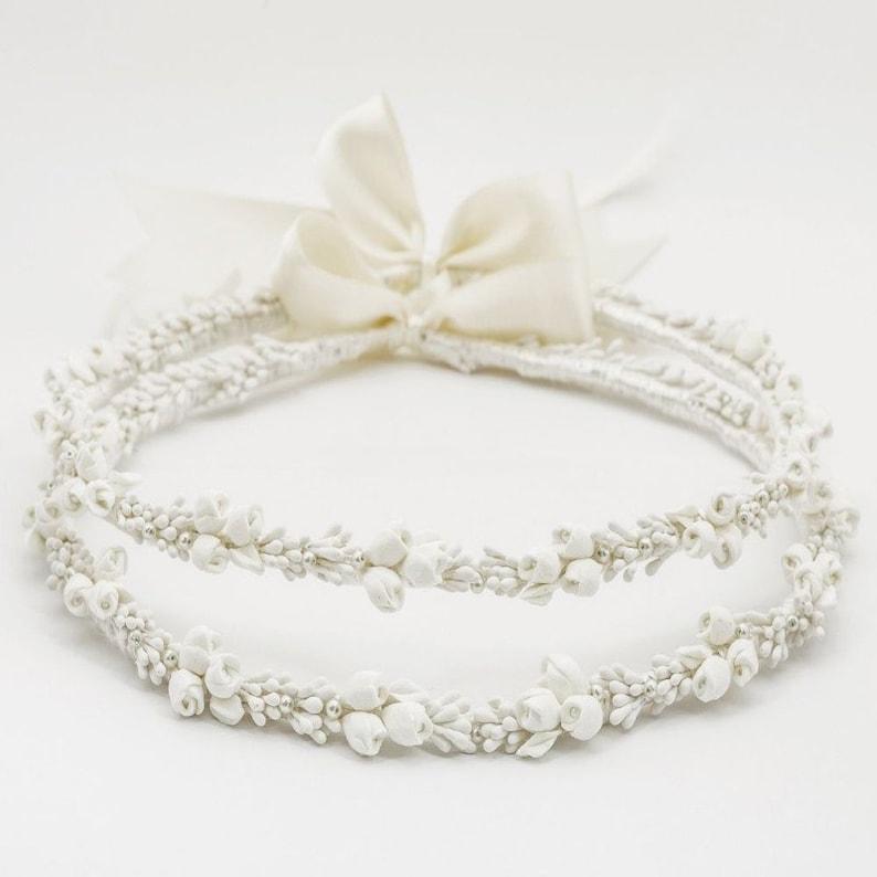 Greek STEFANA Porcelain Flowers  Wedding Tiaras  Bridal Crowns  Greek Orthodox Ceremony Crowns  Wedding Crowns  Handcrafted Tiaras