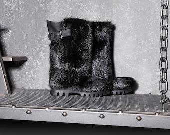 Black long nutria fur boots for men, men's winter mukluks,viking boots,gift for him