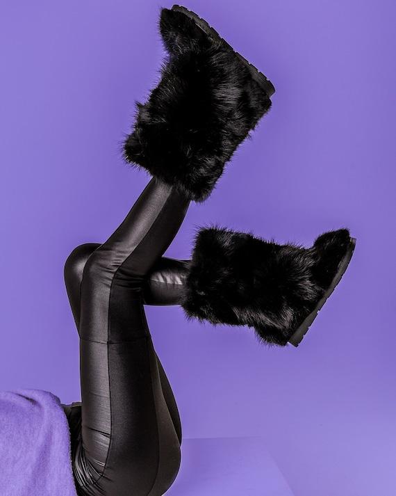 Black fox fur boots for women mukluks