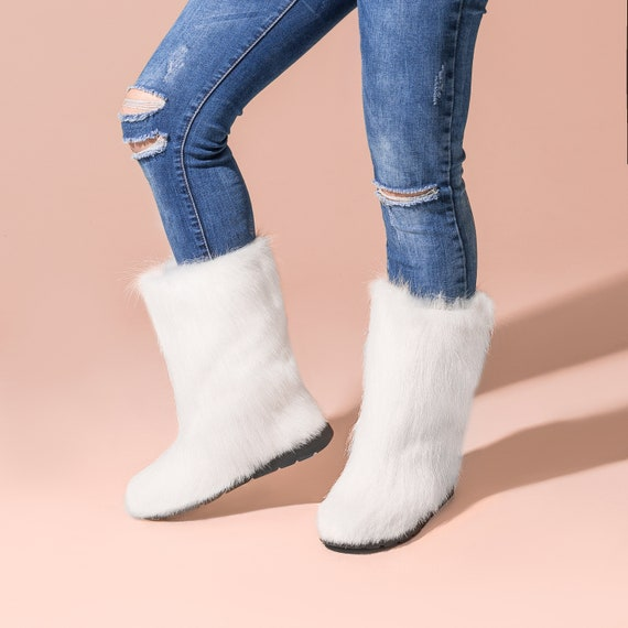 White fur boots for women mukluk boots