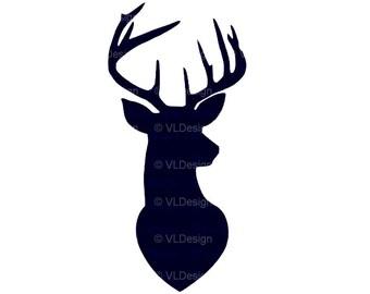 deer head silhouette etsy rh etsy com deer head silhouette clip art free Deer Head Silhouette with Antlers