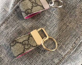 b10f8a3be02 Upcycled Gucci Key Fobs made from 100% authentic Bag. Monogram GG Canvas  with Hot Pink Leather. Gold or Silver Key Chain