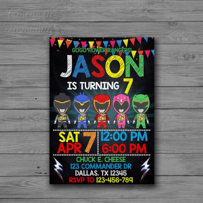 Power Rangers Invitation Birthday