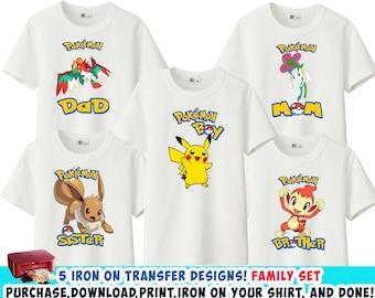 1f3135f0 FAMILY Set , Pokemon Iron On Transfer, Mommy Daddy Birthday Boy Brother  Sister Shirt DIY , High Resolution , Instant Download , Digital