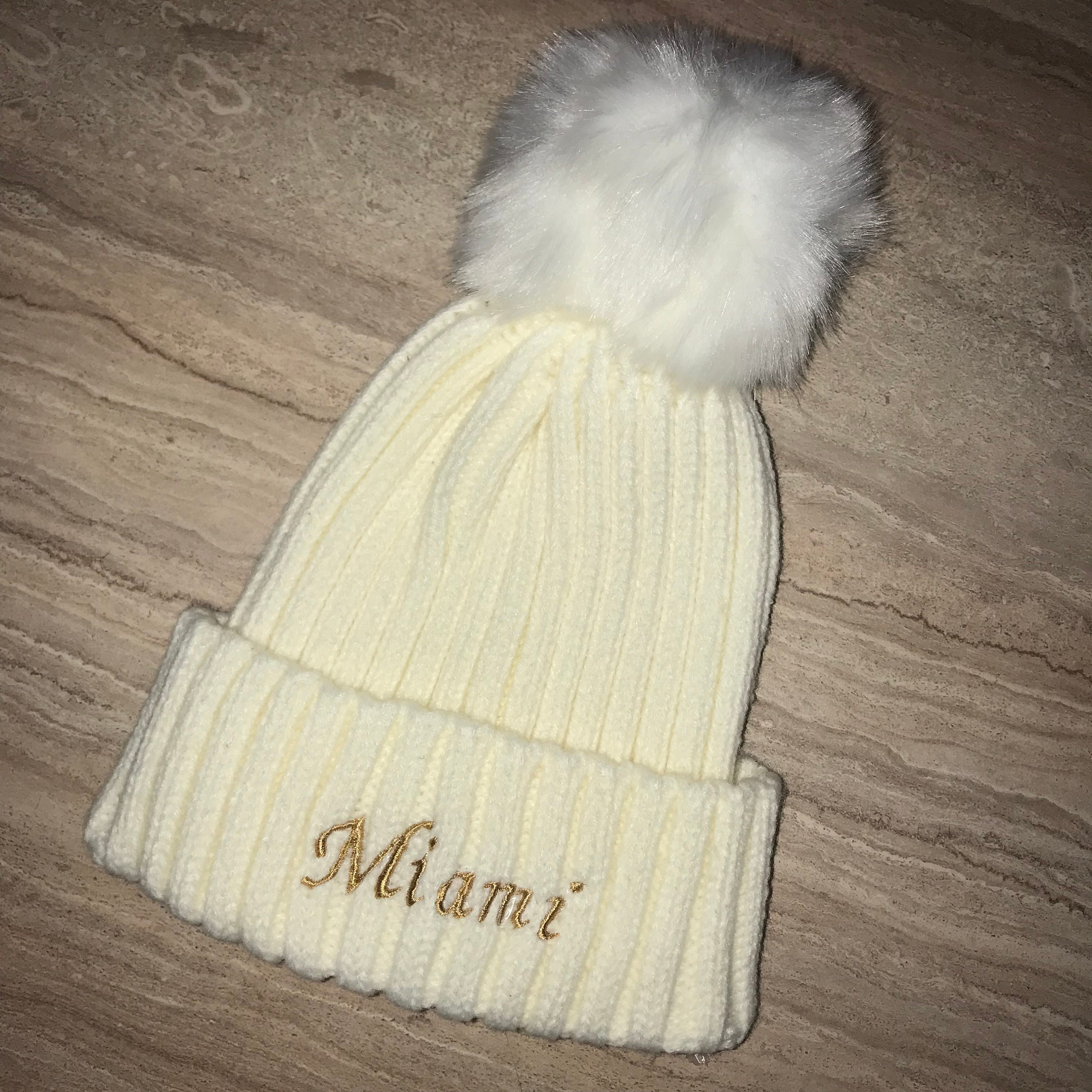 Personalised Pom Pom Hat 0-3years  8d7ba2b692b