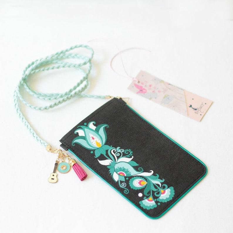 Painted iPhone case travel pouch Mini crossbody bag Handbag-Phone case-folk flowers small handbag-folklore