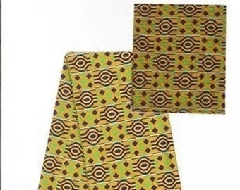 Faux Silk Satin & Chiffon Ankara Print Combo - Modern Kente
