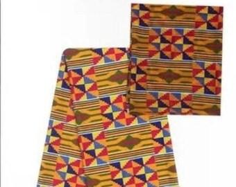 Faux Silk Satin & Chiffon Ankara Print Combo - Kente Queen