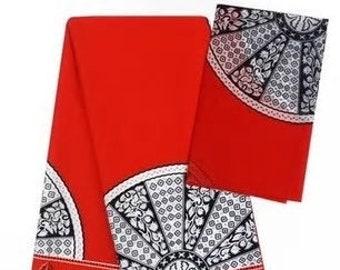Faux Silk Satin & Chiffon Ankara Print Combo - Red Paisley