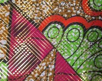 Premium Ankara Print Fabric - Gold Metallic Foil (HF053)