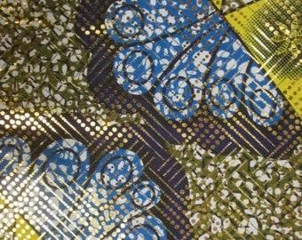 Premium Ankara Print Fabric - Gold Metallic Foil (HF041)