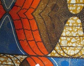 Premium Ankara Print Fabric - Gold Metallic Foil (HF043)