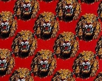 Isi-Agu Lion Head Traditional Nigerian Fabric - Red (HF8)